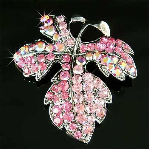 Swarovski Crystal Pink Fall Maple Leaf Brooch