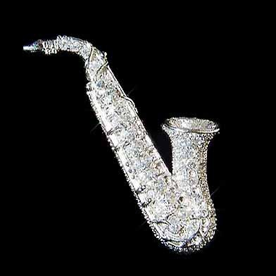 Swarovski Crystal Tenor Saxophone Musical Instrument  Brooch