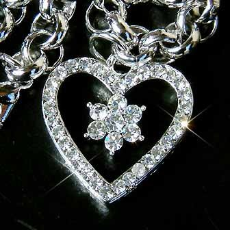 Heart Flower Swarovski Crystal Bridal Bracelet