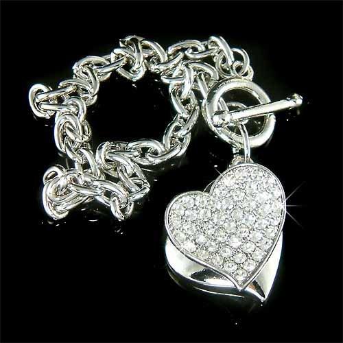 Double Heart Charm Friendship Swarovski Crystal Toggle Bracelet