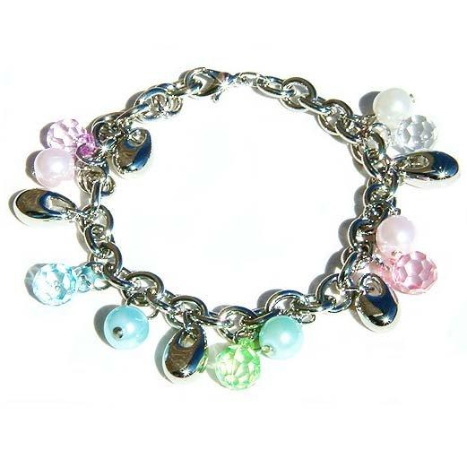 Funky Bubble Gum Pearl Charm Bracelet
