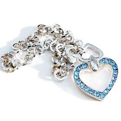 Love Heart  Something Blue Swarovski Crystal Bridal Bracelet