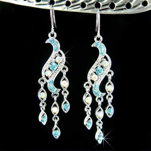 Blue Chandelier Bridal Wedding Party Swarovski Crystal Earrings