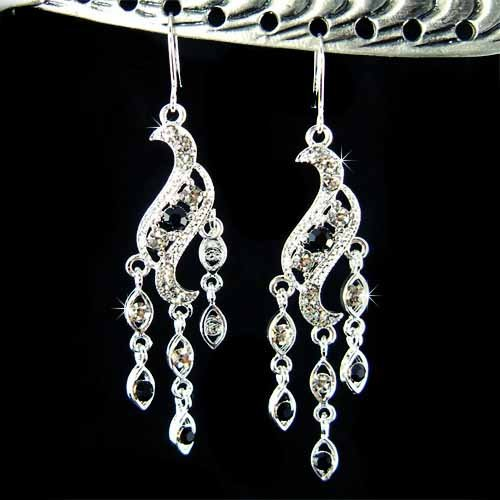 Black Chandelier Bridal Wedding Party Swarovski Crystal Earrings