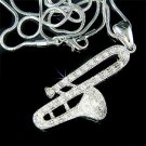 Trombone Trumpet Swarovski Clear Crystal Musical Band Necklace
