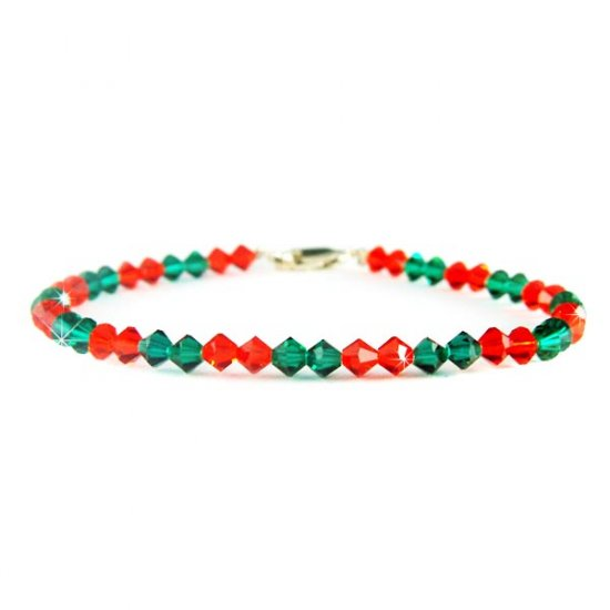 Christmas Holiday Swarovski Crystal Sterling Silver Bracelet
