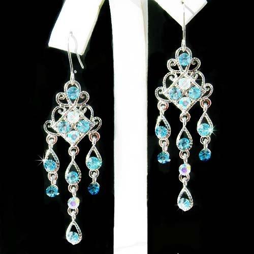 Swarovski Aqua Crystal Chandelier Something Blue Bridal Earrings