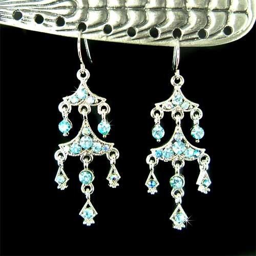 Something Blue Bridal Swarovski Aqua Crystal Chandelier Earrings