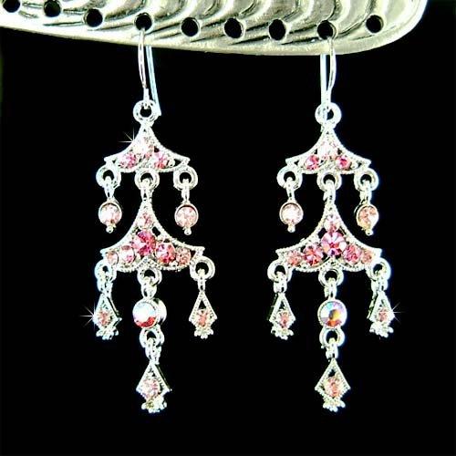 Pink Chandelier Bridal Wedding Party Swarovski Crystal Earrings