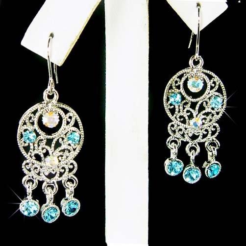 Native American Style Swarovski Blue Crystal Dangle Earrings