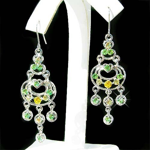 Celebrity Style Swarovski Christmas Green Chandelier Earrings