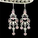 Swarovski Crystal Pink Rose Chandelier Bridal Earrings