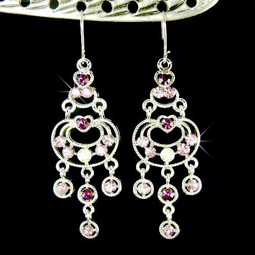 Bridal Purple Swarovski Crystal Chandelier Celebrity Earrings