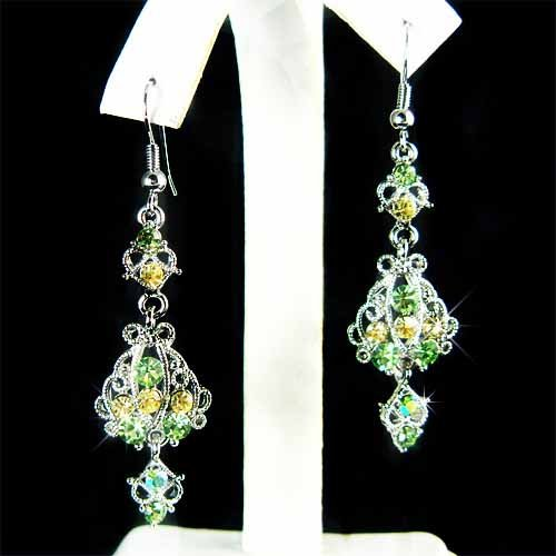 Christmas Holiday Bride Swarovski Green Crystal Dangle Earrings