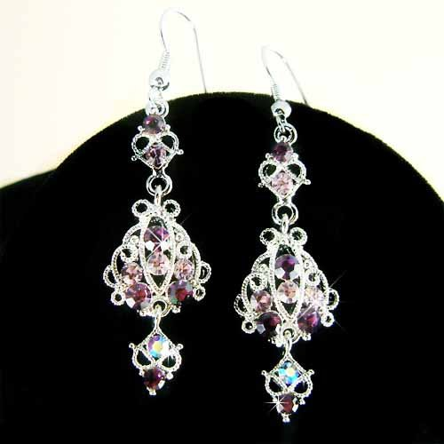 Swarovski Purple Crystal Elegant Fall Bride Dangle Earrings
