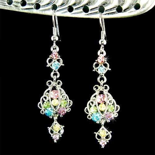 Swarovski Crystal Multi Colored Rainbow Dangle Party Earrings