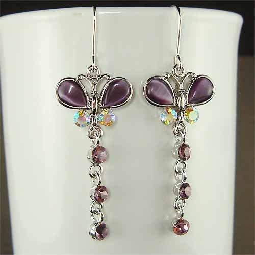 Swarovski Crystal Purple Cat's Eye Butterfly Dangle Earrings