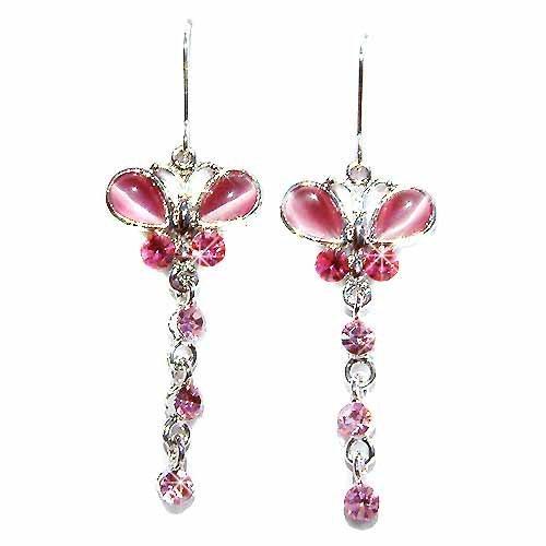Swarovski Crystal Pink Cat's Eye Butterfly Dangle Earrings