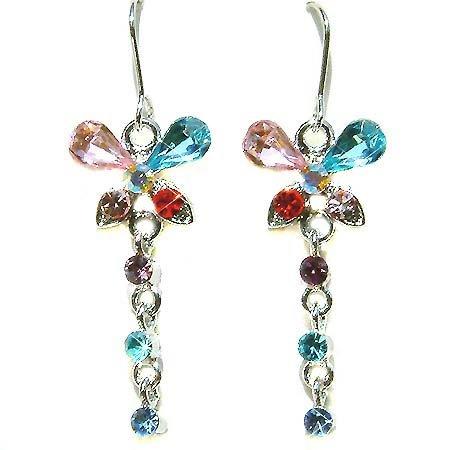 Multi Colored Butterfly Swarovski Crystal Dangle Earrings
