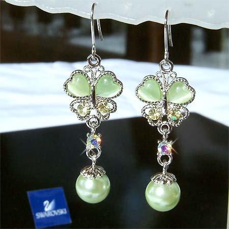 Spring Swarovski Crystal & Pearl Butterfly Bridesmaid Earrings