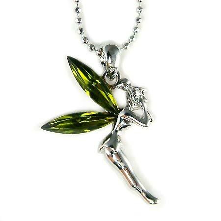 Xmas Green Tinkerbell Pixie Fairy Swarovski Crystal Necklace