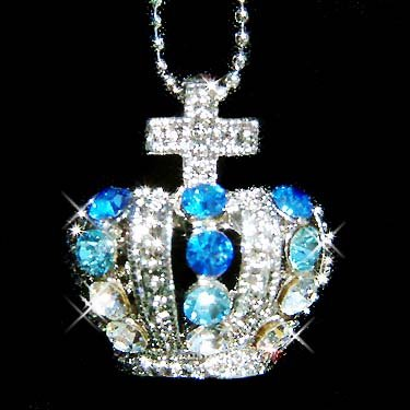 Crown & Cross Swarovski Royal Blue Crystal Necklace