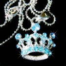 Swarovski Crystal Aqua Blue Royal Crown Pendant Necklace