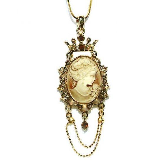 Victorian Gold Swarovski Crystal Cameo Crown Pendant Necklace