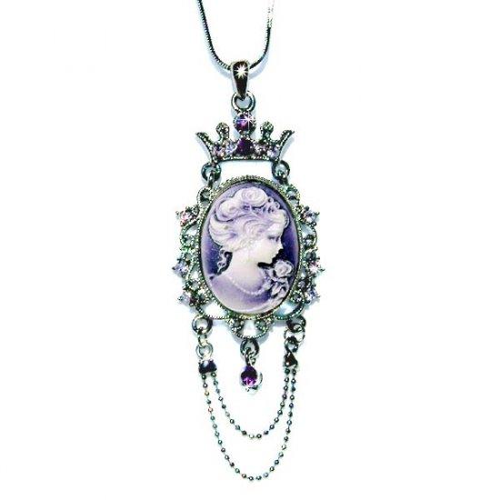 Swarovski Crystal Victorian Purple Cameo Crown Pendant Necklace