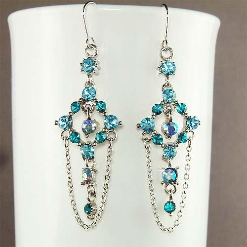 Swarovski Teal Crystal Something Blue Bridal Dangle Earrings