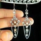 Swarovski Clear Crystal Bridal Wedding Dangle Chain Earrings