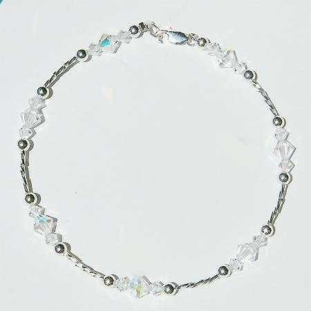 Swarovski Clear Crystal Sterling Silver Beach Wedding Anklet
