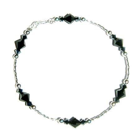 Swarovski Jet Black Crystal Bridal Party Sterling Silver Anklet