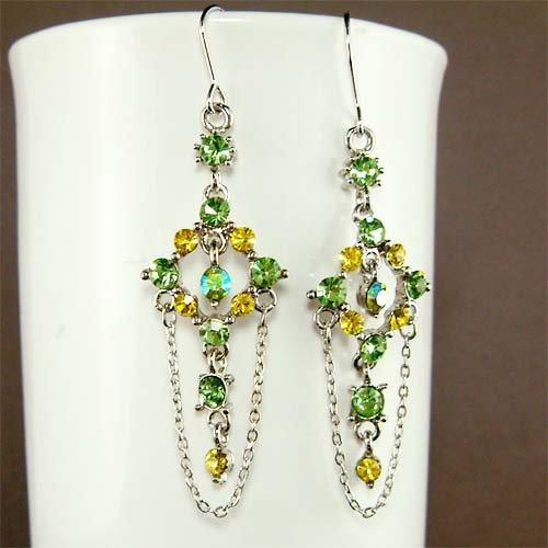 Swarovski Crystal Green Yellow Bridesmaid Dangle Earrings