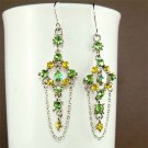 Swarovski Crystal Green Yellow Bridesmaid Dangle Earrings