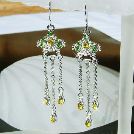 Juicy Royal Crown Swarovski Crystal Long Dangle X'mas Earrings