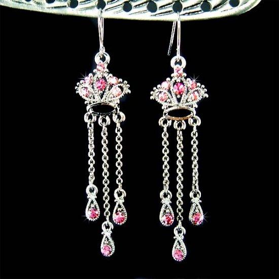 Juicy Royal Crown Swarovski Pink Crystal Long Dangle Earrings