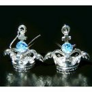 3D Crown Angel Wings Cross Swarovski Blue Crystal Earrings
