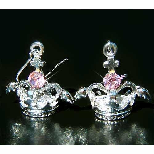 3D Crown Angel Wings Cross Swarovski Pink Crystal Earrings