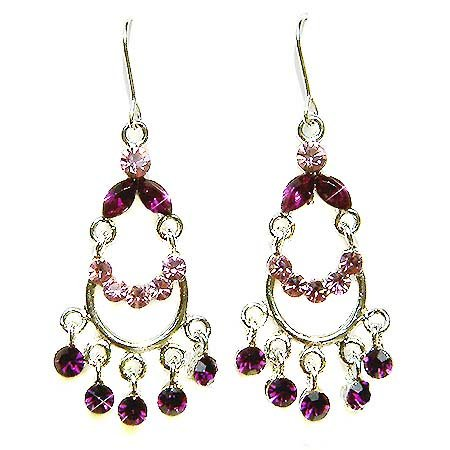 Swarovski Purple Crystal Bridal Chandelier Earrings