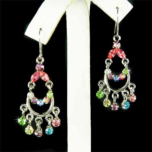Rainbow Swarovski Crystal Chandelier Earrings
