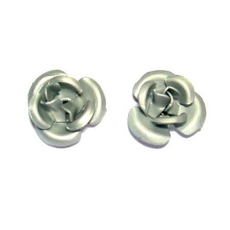 Bridal Wedding Simple Silver Tone Rose Flower Stud Earrings