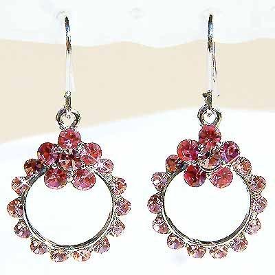 Swarovski Pink Crystal Bridesmaid Flower Wreath Earrings
