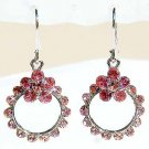 Swarovski Pink Crystal Bridesmaid Flower Wreath Earrings