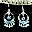 Blue Circle Filigree Flower Wreath Swarovski Crystal Earrings