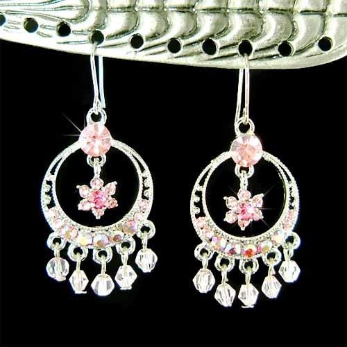 Pink Flower Wreath Swarovski Crystal Wedding Party Earrings