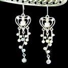 Swarovski Clear Crystal Super Long Heart Vine Bridal Earrings