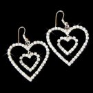 Modern Bride Swarovski Clear Crystal Double Heart Earrings