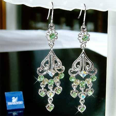 Christmas Green Swarovski Crystal Bridal Dangle Heart Earrings