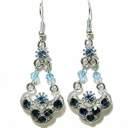 Fall Swarovski Montana Blue Bridal Wedding Dangle Earrings